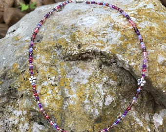Silver Plated Flowers on a Pink and Purple Seedbead Necklace