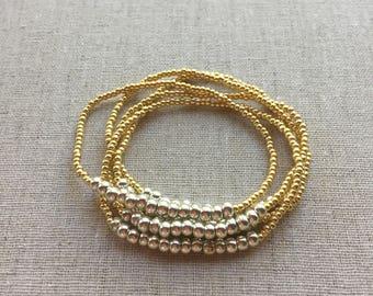Seed Bead Stretch Layering Bracelet- Gold