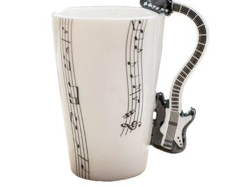 Cup in enamelled ceramics music electric guitar black. 00003