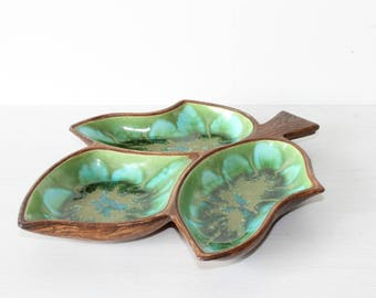 Treasure Craft 3 leaf dish, no 377 in blue, green and teal, mid century modern decor
