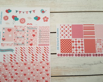 Valentines Day Weekly Kit, Erin Condren, February, Hearts