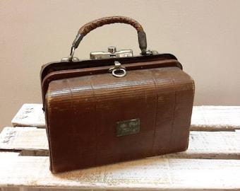 Old medical Briefcase. Vintage Bag