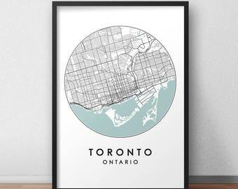 Toronto City Print, Street Map Art, Toronto Map Poster, Toronto Map Print, City Map Wall Art, Toronto Map, Travel Poster, Ontario, Canada