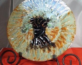"""11 inch Hand Thrown Stoneware Plate with Porcelain Decor,""""Tree of Love"""", Blue Sky, Green Pasture, Solitary Tree of Love"""