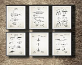 Fishing Gift Idea, Fly Fishing Patent, Fly Fishing Print, Fishing Lure Poster, Fishing Art Set Of 6 Prints INSTANT DOWNLOAD