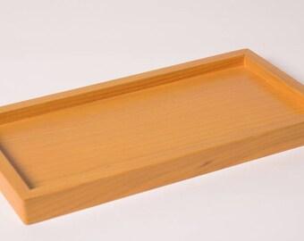 Lemon yellow wooden tray for 5 soap dish