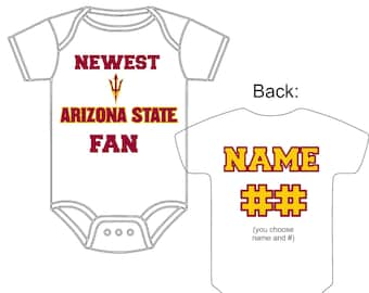 Newest Arizona State Sun Devils Fan Custom Made and Personalized Football Gerber Onesie You Choose Name  Number - Great New Baby Shower Gift