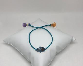 Chic Hamsa bracelet with turquoise belt handmade