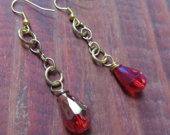 Beautiful Gold Metal Dangling Earrings with Crimson Colored Faceted Teardrop Crystals