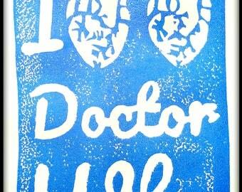 Tardis Blue I Double Heart Doctor Who Block Print