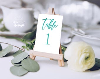 Teal Watercolor Wedding Table Numbers Printable 1-40 Instant Digital Download 4x5 size