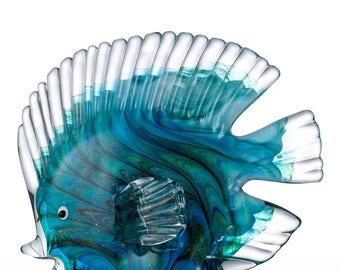 Blue Tropical Fish Glass Figurine Glass Fish Figurine Mediterranean Art Craft Gift For Home Decoration