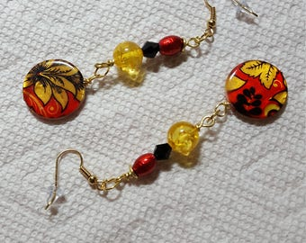 Red and Black Circle Earrings  with Gold Tone