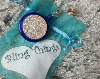 Sequined Glitter Retractable Badge Holder
