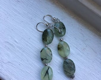Prehnite and Sterling Earrings - Free U.S. Shipping