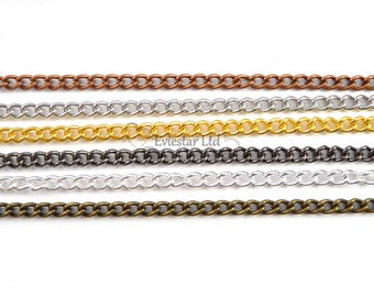 Steel Chain, Curb Chain, Fine Steel Metal Curb Chain, Jewelry Finding, Link Size 3.7 x 2.5, Nickel Free, Six colors available, AAB2