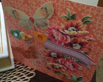 Get Well Soon Card/6 x 6/Handmade/3D/Floral/Orange Background/Pink Flowers/Butterflies and Hearts/Greeting