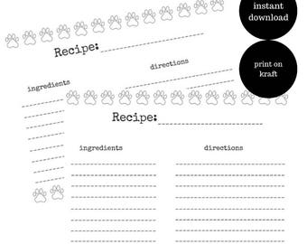 Paw print recipe card | Instant Download | Printable