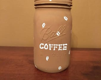 Painted Mason Jar - Coffee Jar Design
