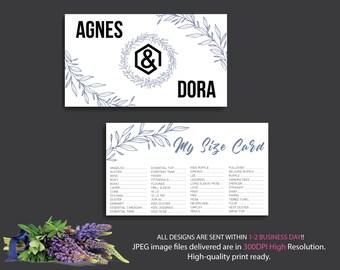 My Size Card, Size Card Agnes and Dora, Custom Agnes And Dora, Digital Agnes and Dora, Instant Download