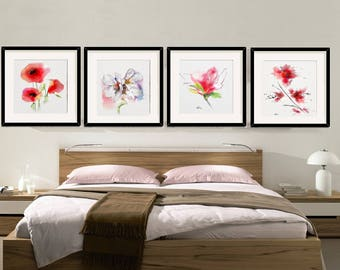 Flower Wall Art Decor Bedroom Flower Decor Room Set 4, Bedroom Wall Art Flower Decor Room Bedroom Flower Wall Art Original Gift Idea (AQ667)