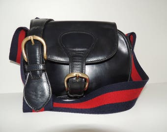 Gucci vintage bag messenger web crossbody 70s black