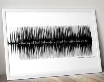 First Dance Ed Sheeran Thinking Out Loud Soundwave Anniversary Poster Gift Audiophile