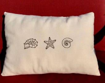 Hand Embroidered Ocean Seashell Starfish Decorative Bedroom Pillow