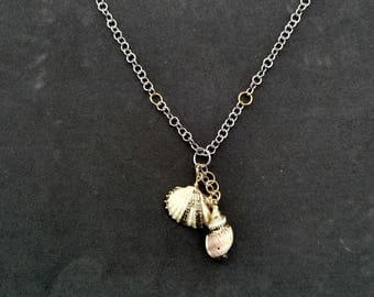 Seashell Statement Chainmaille Charm Necklace