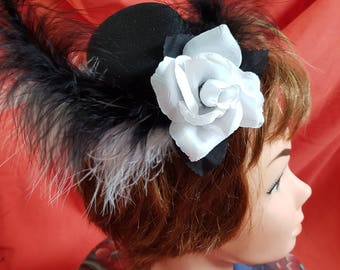 New one off min hat hatinator, fascinator, feathers and a rose flower