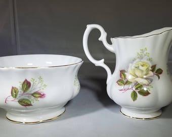 Vintage-Royal Albert-Bone Chine-Cream and Sugar-Gold Rimmed-Kitchen Decor-Serving ware-Glassware