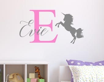 Perfect Personalised Unicorn Wall Sticker Wall Decal Childrens Kids Nursery Bedroom  Playroom Vinyl Part 29