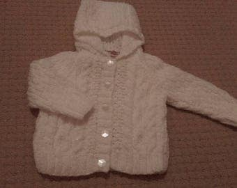 White aran-look hooded jacket with sparkle thread