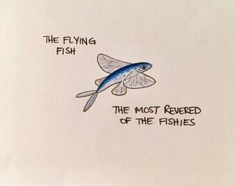 Blank Greeting card, flying fish