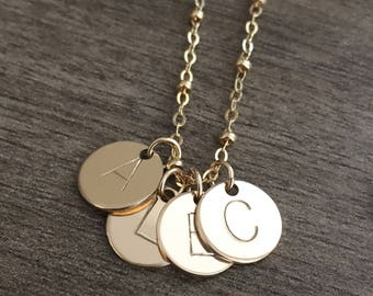 Personalized Necklace. Gold Filled Initial Charm Necklace. Handstamped
