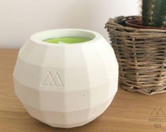 Small white spherical concrete tealight / set of 1