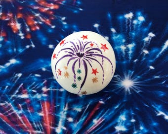 Patriotic Fireworks Hand Painted Rock-  Labor Day, Memorial Day, Veterans Day, 4th of July (fireworks1)