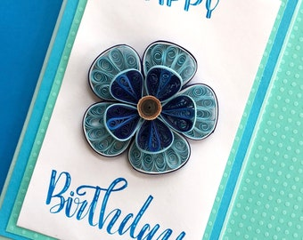 Birthday card/Quilled Birthday card/Girlfriend Birthday/wife birthday/Quilled art/Quilled card/Floral card