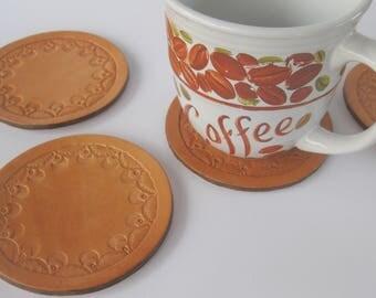 Western Coasters/Leather Coasters/Circle Coasters/4 Coasters/