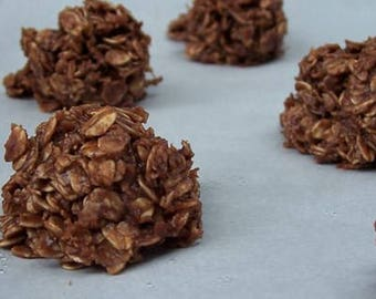 Chocolate No Bake Cookies/ Chocolate Cookies/ 1 Dozen/ Homemade Cookies/ Oatmeal Chocolate/ Party Cookie/ Holiday Cookies