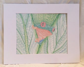 Cheeky Frog Zentangle  Red-Eyed Green Tree Frog Behind Large Leaves Art Print, Great for Gallery Wall, Housewarming, Home Decor
