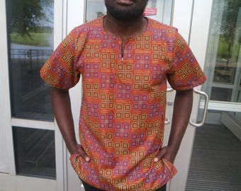 African Print Men Top- Yuna Brown