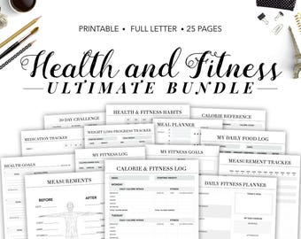Fitness Planner Printable, Health Planner, Fitness Journal, Workout Planner, Calorie Tracker, Weight Loss Planner, Health and Fitness, Food