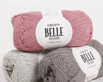 DROPS Belle Yarn / Cotton Yarn /  Linen Yarn / Viscose Yarn / Summer Cotton Yarn / Hand Knit Yarn / Crochet Yarn /Yarn 50 g - 1.8 oz