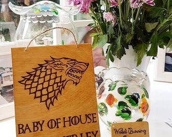 "Baby of House ""YOUR NAME"" Game of Thrones, House, New born, Baby shower, Gift, Custom made, Ornaments"
