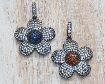 Pave CZ Large Flower Charms in Gunmetal CZ Flower Charms Blue or Orange Center 25mm