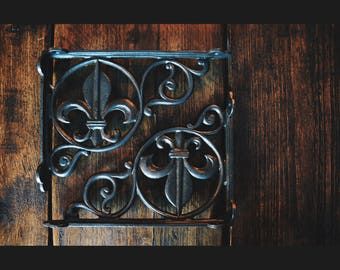 Pair of Rustic Lily Fleur De Lys Style Shelf Brackets/Cistern