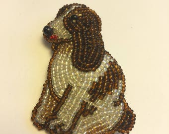 Beaded Beagle / dog pin/brooch