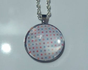 silver necklace multicolor dots