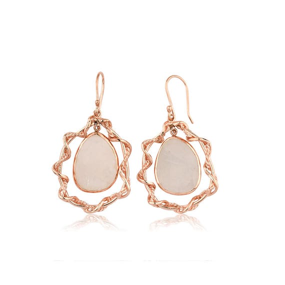 Silver Flat Rainbow Moonstone Rose Gold Earrings  Gift For Her
